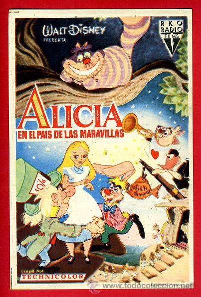 ALICIA EN EL PAIS DE LAS MARAVILLAS , SENCILLO , ORIGINAL , PMD 882 (Cine - Folletos de Mano - Infantil)
