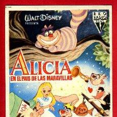 Flyers Publicitaires de films Anciens: ALICIA EN EL PAIS DE LAS MARAVILLAS , SENCILLO , ORIGINAL , PMD 882. Lote 228427535