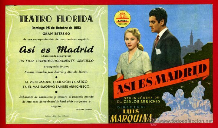ASI ES MADRID , DOBLE , CON CINE , FLORIDA , ORIGINAL , PMD 925 (Cine - Folletos de Mano - Comedia)