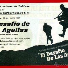 Cine: EL DESAFIO DE LAS AGUILAS , DOBLE CON CINE , ORIGINAL , PMD 940. Lote 206317601