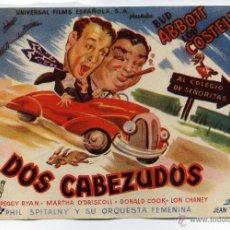 Cine: DOS CABEZUDOS, CON BUD ABBOTT Y LOU COSTELLO.. Lote 49231271