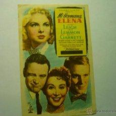 Flyers Publicitaires de films Anciens: PROGRAMA MI HERMANA ELENA-J,LEMMON - J,LEIGH-PUBLICIDAD ¡¡VARIANTE LLEVA CINEMASCOPE TACHADO¡¡¡. Lote 49274993