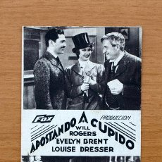 Cine: APOSTANDO A CUPIDO - WILL ROGERS, EVELYN BRENT, LOUISE DRESSER. Lote 1176230