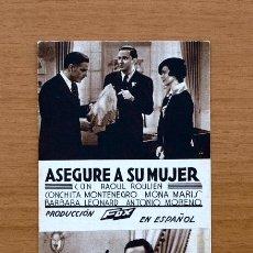 Cine: ASEGURE A SU MUJER - RAOUL ROULIEN - PUBLICIDAD EMPRESA CINE MUNICIPAL DE CADIZ. Lote 1176240