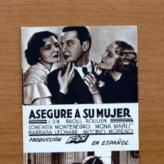 Cine: ASEGURE A SU MUJER - RAOUL ROULIEN - PUBLICIDAD EMPRESA CINE MUNICIPAL DE CADIZ. Lote 1176241