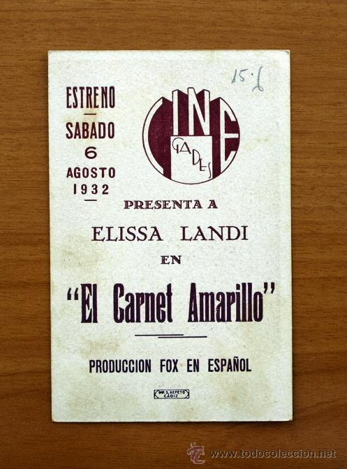 Cine: El carnet amarillo - Elissa Landi, Lionel Barrymore, Laurence Olivier - Publicidad Cine Gades -Cádiz - Foto 2 - 26286914