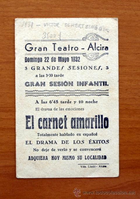 Cine: El carnet amarillo - Elissa Landi, Lionel Barrymore, Laurence Olivier -Publicidad Gran Teatro-Alcira - Foto 2 - 27137186