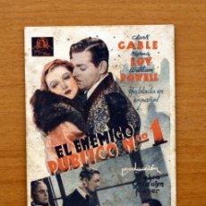 Cine: EL ENEMIGO PUBLICO Nº 1 - CLARK GABLE, MYRNA LOY, WILLIAM POWELL -PUBLICIDAD CINE METROPOL -VALENCIA. Lote 10724413