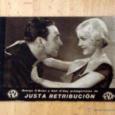 Cine: JUSTA RETRIBUCIÓN - GEORGE O´BRIEN, NELL O´DAY - PUBLICIDAD TEATRO LA PAZ - SUECA. Lote 1973473