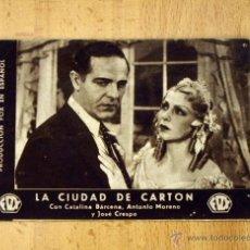 Cine: LA CIUDAD DE CARTÓN - CATALINA BARCENA - PUBLICIDAD TEATRO SERRANO - SUECA. Lote 1973684