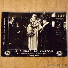 Cine: LA CIUDAD DE CARTÓN - CATALINA BARCENA - PUBLICIDAD TEATRO SERRANO - SUECA. Lote 1973694