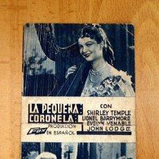 Cine: LA PEQUEÑA CORONELA - SHIRLEY TEMPLE, LIONEL BARRYMORE - PUBLICIDAD CINE LA PAZ. Lote 2743294