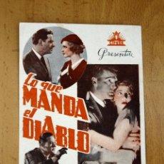 Cine: LO QUE MANDA EL DIABLO - ALAN DINEHART, MAE CLARKE. Lote 2265317