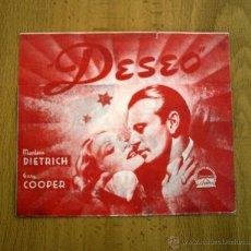 Cine: DESEO - PELICULA DE 1936 - GARY COOPER Y MARLENE DIETRICH- PUBLICIDAD TEATRO CIRCO. Lote 27081304