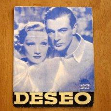 Cine: DESEO - PROTAGONIZADA POR GARY COOPER Y MARLENE DIETRICH - PUBLICIDAD CINE CAPITOL - SAGUNTO. Lote 27081306