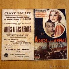 Cine: ADIOS A LAS ARMAS - GARY COOPER, HELEN HAYES, ADOLPHE MENJOU - PUBLICIDAD CLAVÉ PALACE. Lote 27615871
