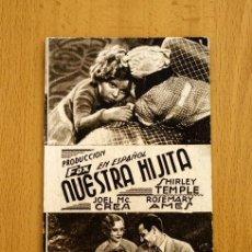 Cine: NUESTRA HIJITA - SHIRLEY TEMPLE, JOEL MCCREA - PUBLICIDAD CINE LA PAZ - SUECA. Lote 2753265
