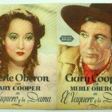 Cine: EL VAQUERO Y LA DAMA PROGRAMA DOBLE PELÍCULA GARY COOPER MERLE OBERON HC POTTER CINE CAPITOL AÑOS 40. Lote 49463955