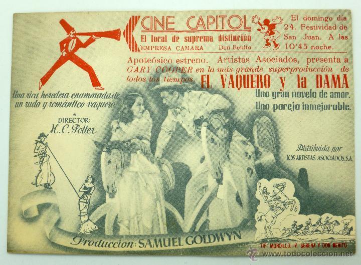 Cine: El vaquero y la dama programa doble película Gary Cooper Merle Oberon HC Potter Cine Capitol años 40 - Foto 2 - 49463955