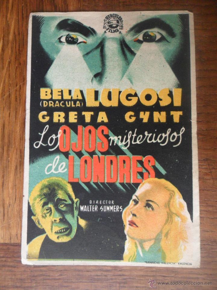 BELA LUGOSI: LOS OJOS MISTERIOSOS DE LONDRES - FOLLETO DE MANO (Cine - Folletos de Mano - Terror)