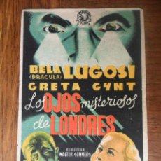 Cine: BELA LUGOSI: LOS OJOS MISTERIOSOS DE LONDRES - FOLLETO DE MANO. Lote 49477828