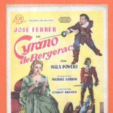 Cine: FOLLETO DE MANO ORIGINAL DE LA PELICULA ESPAÑOLA CYRANO DE BERGERAC. Lote 49477917