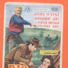 Cine: FOLLETO DE MANO ORIGINAL DE LA PELICULA RIO ROJO - JOHN WAYNE. Lote 49478275