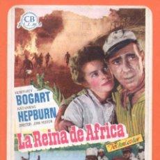 Cine: FOLLETO DE MANO ORIGINAL DE LA PELICULA LA REINA DE AFRICA. Lote 49478293