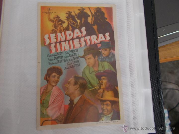 SENDAS SINIESTRAS SENCILLO SIN PUBLICIDAD (Cine - Folletos de Mano - Westerns)