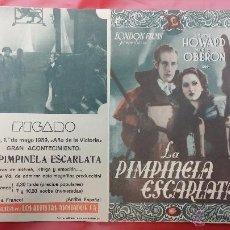 Cine: 1939 LA PIMPINELA ESCARLATA - PROGRAMA DE CINE - LESLIE HOWARD MERLE OBERON. Lote 49503124