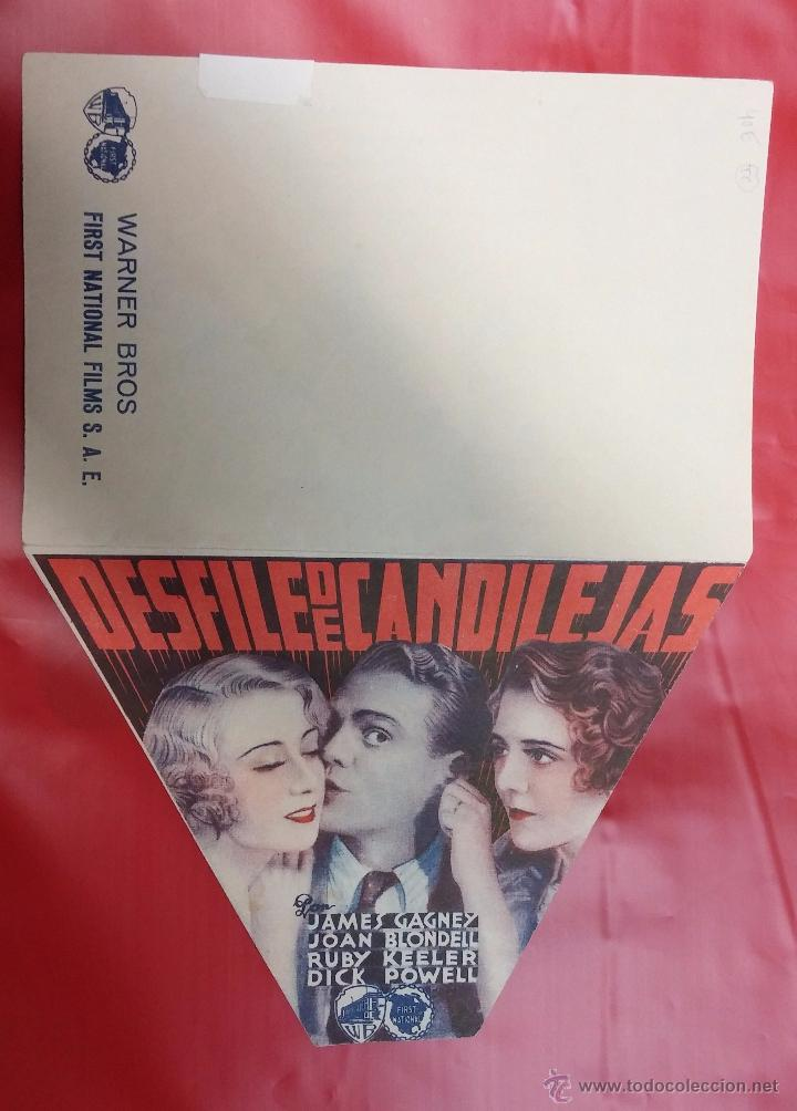 DESFILE DE CANDILEJAS - PROGRAMA DE CINE TROQUELADO - JAMES GAGNEY JOAN BLONDELL RUBY KEELER AÑOS 30 (Cine - Folletos de Mano - Musicales)