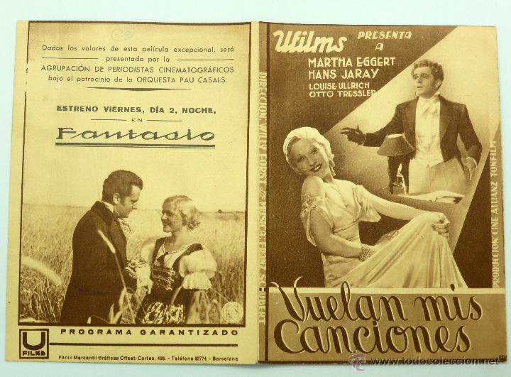 VUELAN MIS CANCIONES PROGRAMA DOBLE PELÍCULA MATHA EGGERT HANS JARAY CINE FANTASIO (Cine - Folletos de Mano - Musicales)