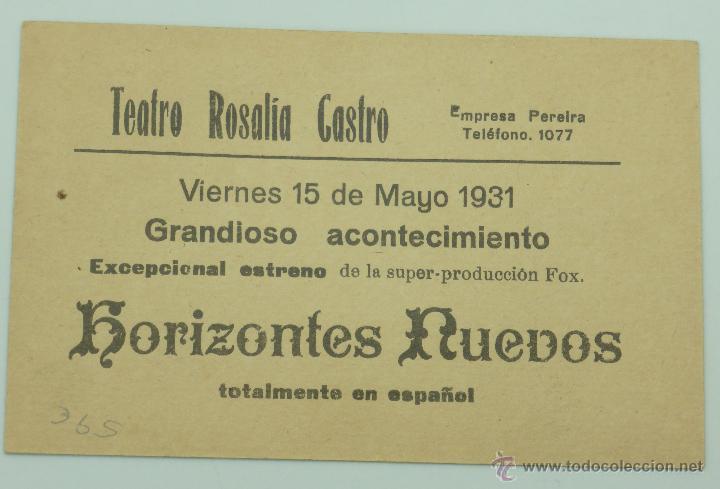 Cine: Horizontes nuevos programa mano película Teatro Rosalía Castro 1931 - Foto 2 - 49509368