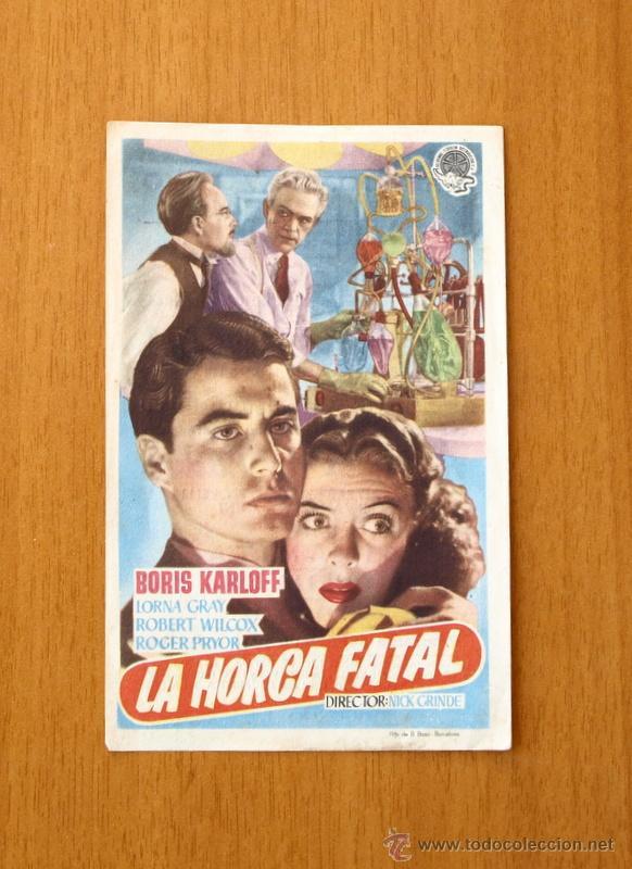 LA HORCA FATAL - BORIS KARLOFF - PUBLICIDAD CINE VICTORIA (Cine - Folletos de Mano - Terror)