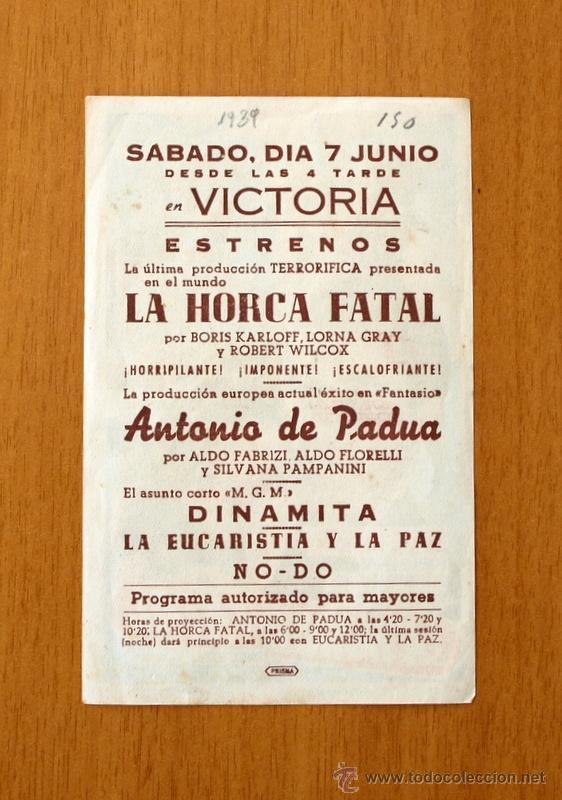 Cine: La horca fatal - Boris Karloff - Publicidad Cine Victoria - Foto 2 - 12636769