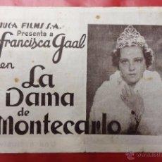Cine: LA DAMA DE MONTECARLO - PROGRAMA DE CINE - FRANCISCA GAAL HANS JARAY SZOKE SZAKALL - AÑOS 30. Lote 49537895