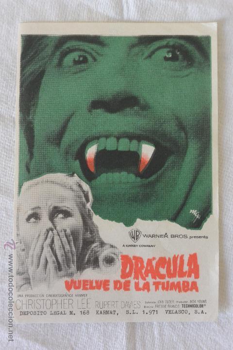 FOLLETO MANO CINE DRACULA VUELVE DE LA TUMBA (Cine - Folletos de Mano - Terror)
