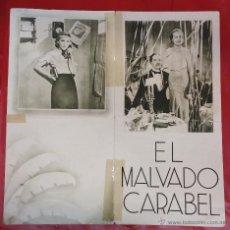 Cine: EL MALVADO CARABEL - PROGRAMA DE CINE - ANTOÑITA COLOME ANTONIO VICO - AÑOS 30. Lote 49553706