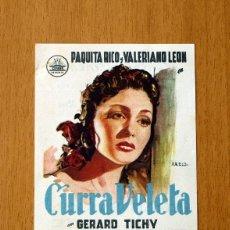 Cine: CURRA VELETA - PAQUITA RICO, VALERIANO LEÓN - PUBLICIDAD CENTRAL CINEMA. Lote 25056840