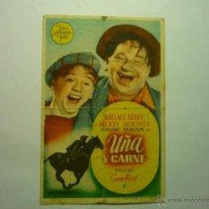 Folhetos de mão de filmes antigos de cinema: PROGRAMA UÑ Y CARNE .- WALLCE BEERY - PUBLICIDAD SALON CINE FEMINA-TORTOSA TARRAGONA BB. Lote 49625369