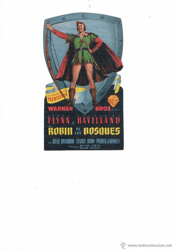 FOLLETO DE MANO ROBÍN DE LOS BOSQUES 1949 CINE VERSALLES MALLORCA ERROL FLYNN OLIVIA DE HAVILLAND (Cine - Folletos de Mano - Aventura)