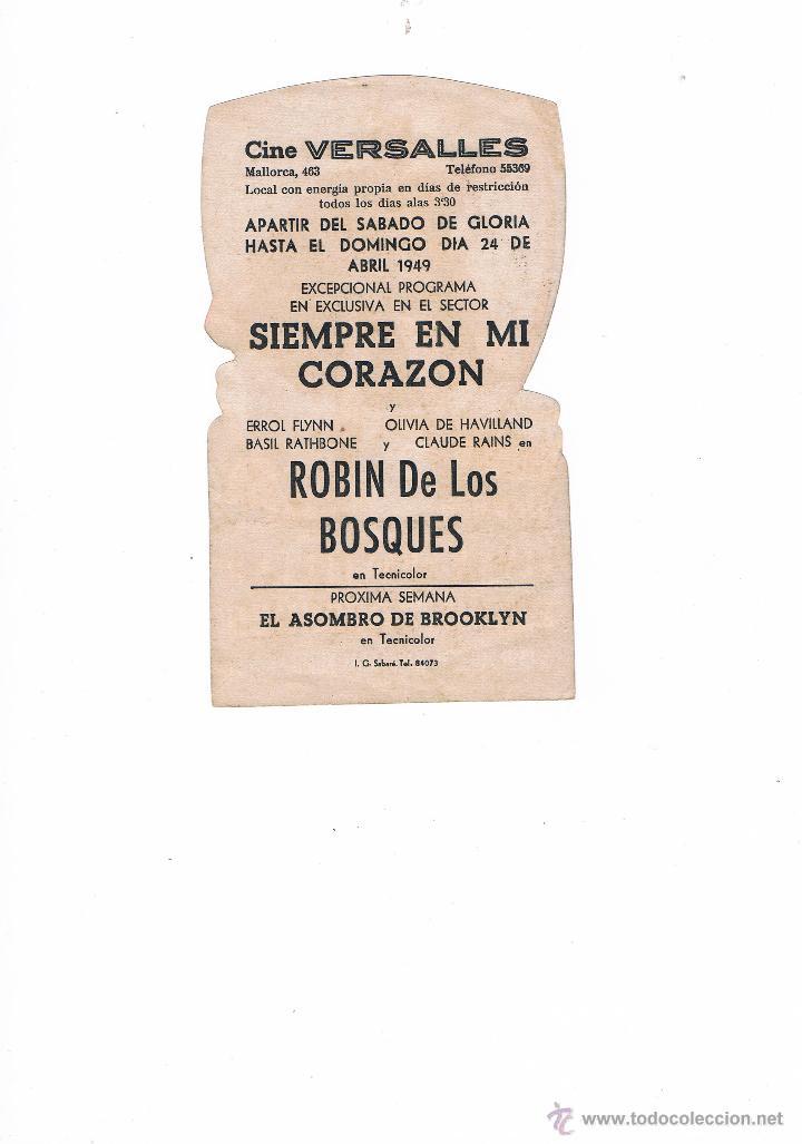 Cine: FOLLETO DE MANO ROBÍN DE LOS BOSQUES 1949 CINE VERSALLES MALLORCA ERROL FLYNN OLIVIA DE HAVILLAND - Foto 2 - 49639858