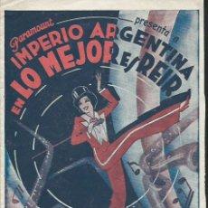 Cine: IMPERIO ARGENTINA. LO MEJOR ES REIR. Lote 49688877