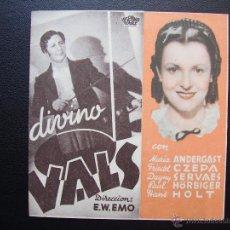 Folhetos de mão de filmes antigos de cinema: DIVINO VALS. Lote 49715596