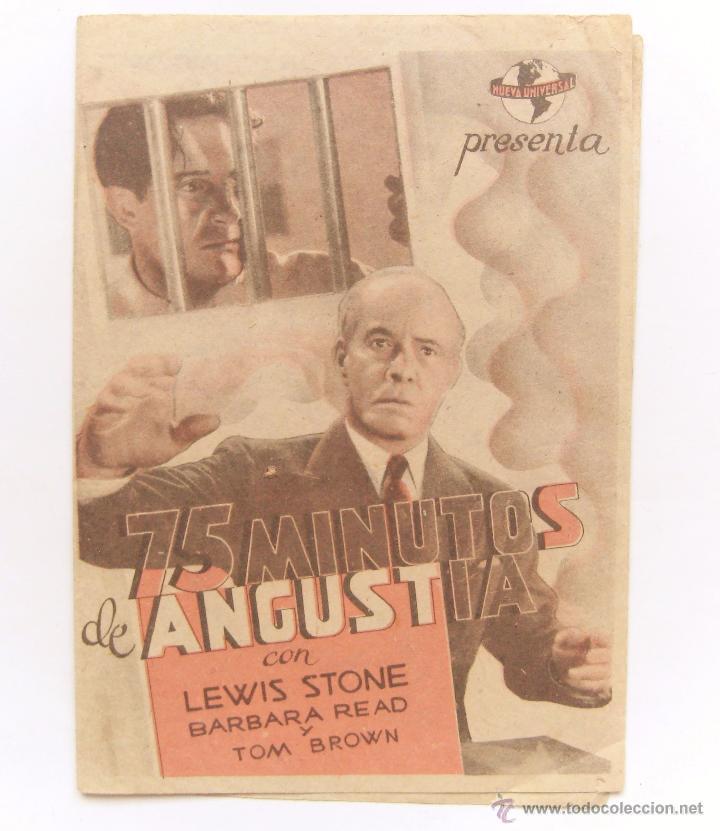 PROGRAMA DOBLE *75 MINUTOS DE ANGUSTIA* LEWIS STONE BARBARA READ CINE STA. CRUZ OVIEDO (Cine - Folletos de Mano - Suspense)
