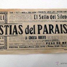 Cine: BESTIAS DEL PARAISO PROGRAMA DOBLE PASQUIN CINE MUDO GRANDE ORIGINAL 1923 LOCAL TIVOLI BARCELONA. Lote 49766769