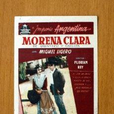 Cine: MORENA CLARA - 1936 - IMPERIO ARGENTINA Y MIGUEL LIGERO - PUBLICIDAD TEATRO CIRCO, ALCOY. Lote 13861224