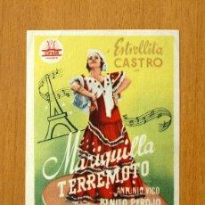 Cine: MARIQUILLA TERREMOTO - 1939 - ESTRELLITA CASTRO Y ANTONIO VICO - CON SELLO DE CINE. Lote 26312727