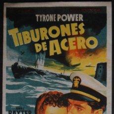 Cine: TIBURONES DE ACERO,FOLLETO DE MANO, (7020),SOLIGO,CONSERVACION,VER FOTOS. Lote 49890378