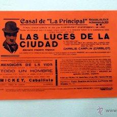 Cine: LAS LUCES DE LA CIUDAD 1931 PROGRAMA CINE ORIGINAL LOCAL CHARLES CHARLIE CHAPLIN CHARLOT. Lote 49891742